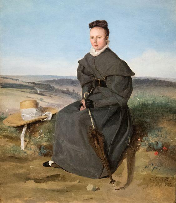 """Jean-Baptiste Camille Corot (1796-1875) """"Louise Harduin"""" dét. (1831, huile sur toile) musée Marmottan (Paris, France)   The Sterling and Francine Clark Art Institute, Williamstown.  Exposition """"Corot, le peintre et ses modèles"""" (8 février 2018 - 8 juillet 2018)"""