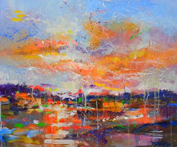 "My lovely evening , Marta Zawadzka, Original Acrylic Painting 23,62x19,7"", landscape"