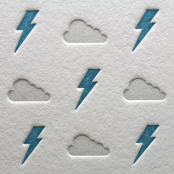 Letterpress Lightning Bolts and Clouds in Silver by letterpress
