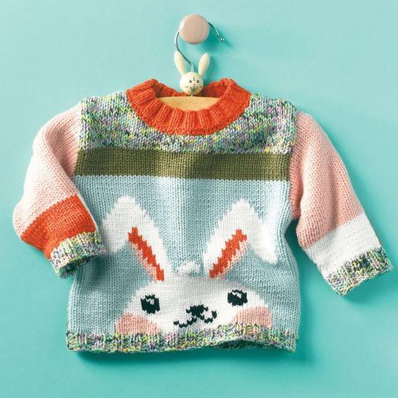 Knitting Pattern Rabbit Sweater | baby | Pinterest | Hilos y lana ...