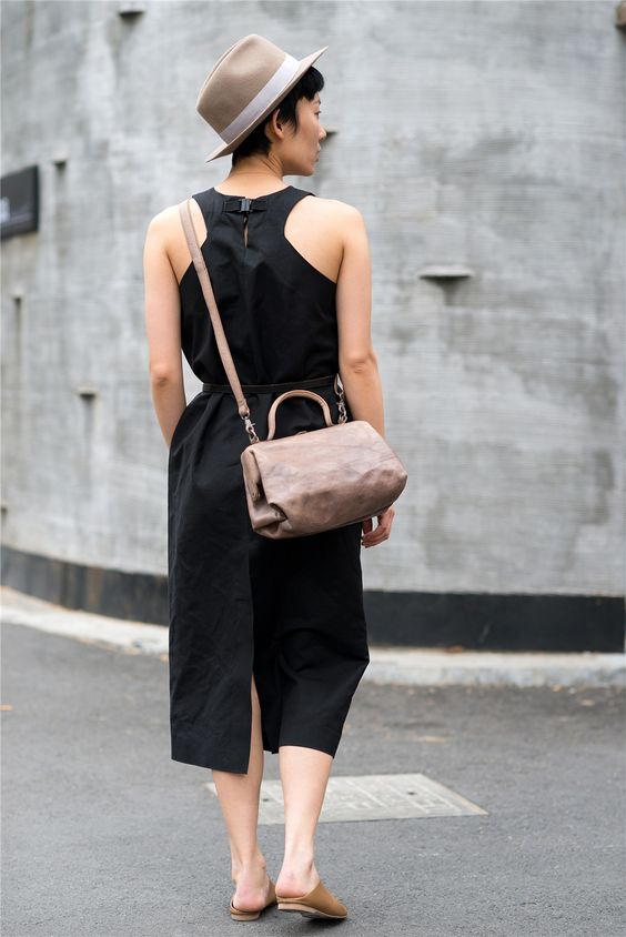 JNBY / Soft leather bag #brown #black #red #leather bag