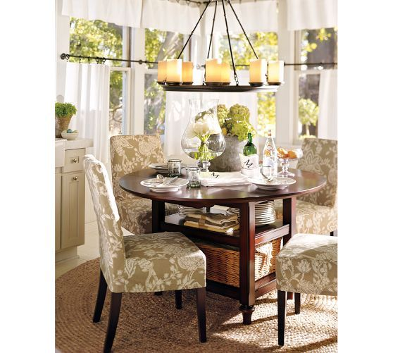 Shayne Round Drop-Leaf Kitchen Table, 49 x 26\