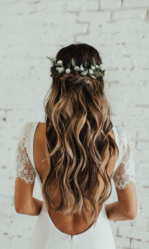 Wedding bride bridal hair hairstyle updo hairdo loose waves curls long down half up half down flowers crown