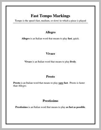 Worksheets In Music What Does Allegro Mean the sonatinasonata form visual aid provides definition of a fast tempo markings definitions for each tempos including allegro vivace presto and pre