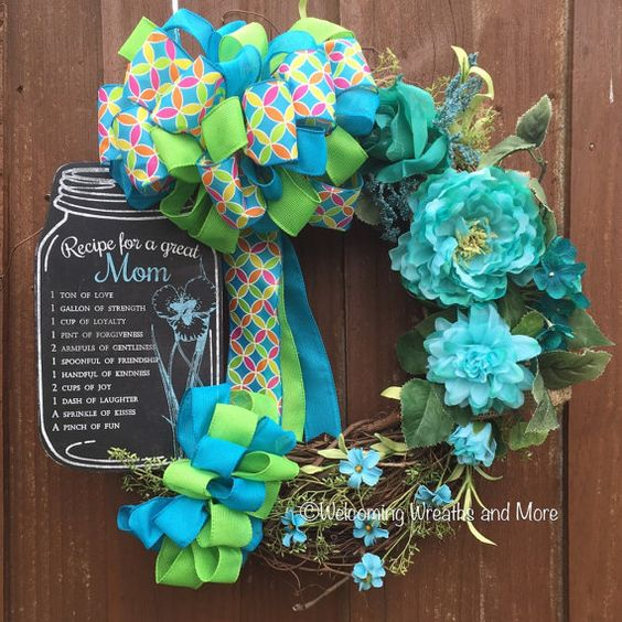 Mother's Day Wreath Mom Wreath Floral by WelcomingWreathsMore