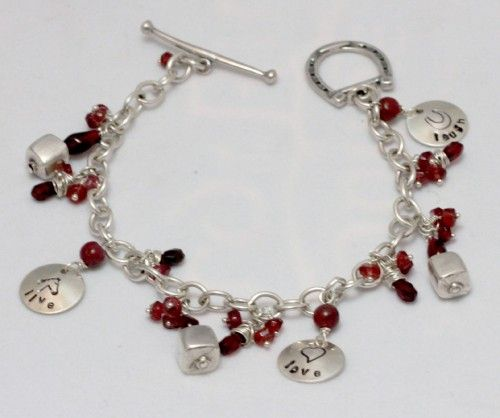 Wire Wrapped Chunky Ruby and Garnet Bracelet Live Love Laugh Horse