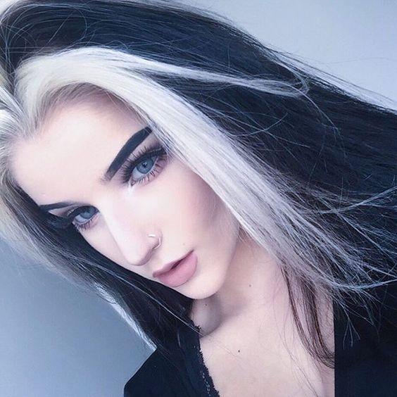 Black And White Hair Color Long Hair White Hair Color Hair Streaks Aesthetic Hair