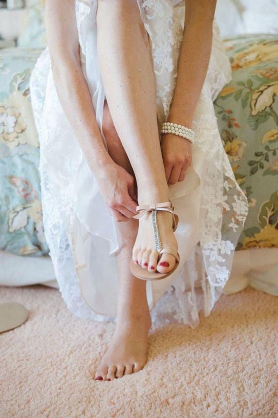 Wedding sandals low heel