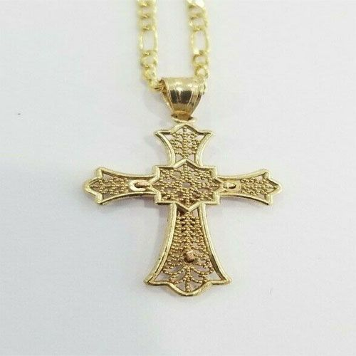 """Real 14k Yellow Gold Praying Hands Religious Charm Pendant Singapore Chain 20/"""""""
