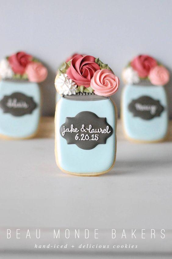 wedding mason jar cookies: