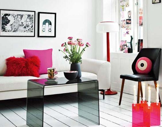minimalist pink furniture living room design