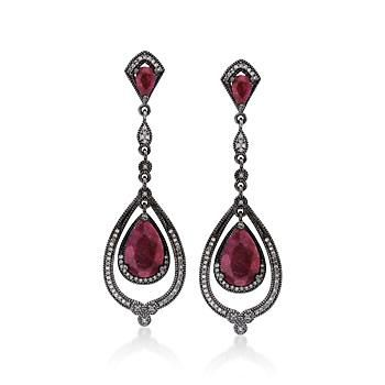 Ross-Simons - 7.50 ct. t.w. Ruby and .50 ct. t.w. Natural Diamond Drop Earrings In Sterling Silver - #768097
