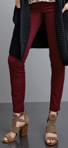 red cordovan stretch skinny jeans