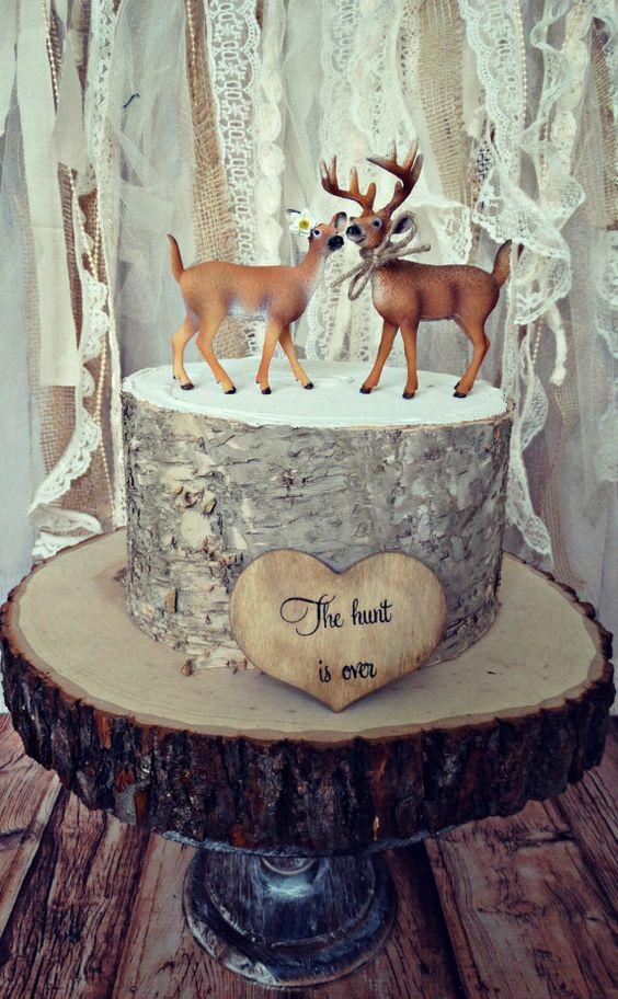 Deer Hunter Bride Groom Wedding Cake Topper Camouflage