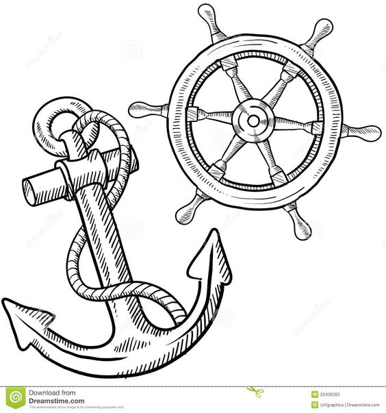 Doodle style ships anchor and wheel illustration in vector format sentry 03 pinterest - Dessin ancre marine ...