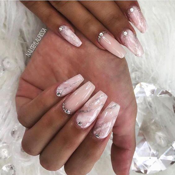 Gorgeous blush marble nails