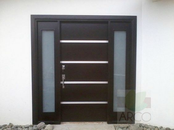 Puerta moderna maderas arco pinterest for Puertas de acceso modernas
