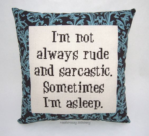 Funny Cross Stitch Pillow, Brown Pillow, Rude and Sarcastic Quote. $25.00, via Etsy.