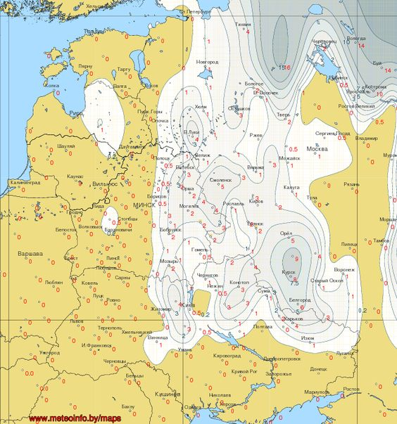 Map of snow Belarus Ukraine western Russia and the Baltic