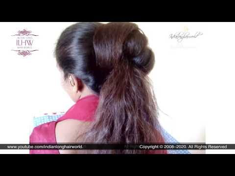 Labour Day Special Perfect Maid Style Huge Half Hair Bun By Reena Reena S Half Open Bun Home Youtub In 2020 Half Bun Hairstyles Bun Hairstyles Long Hair Video