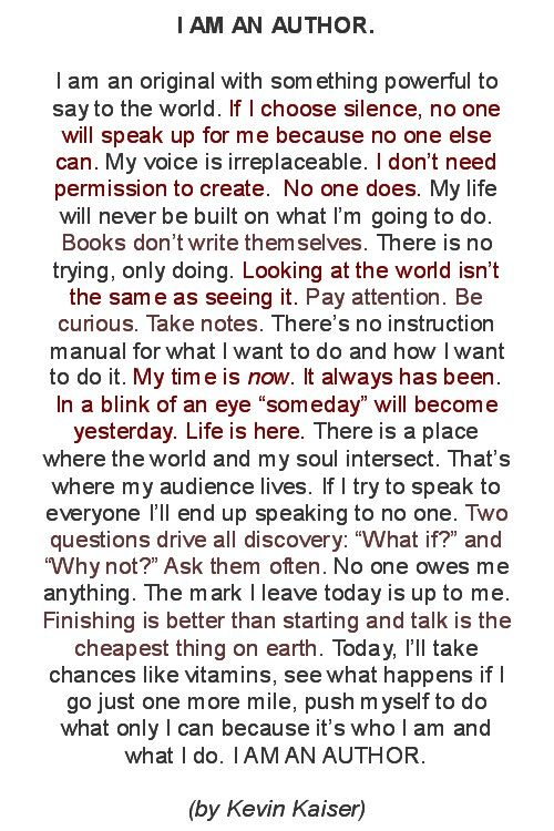 I AM AN AUTHOR (Manifesto) I WROTE A NOVEL! WOOT WOOT! :)