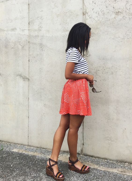 striped tee + patterned skirt + neutral wedges {summer style} #patternmixing @target @hm @samsclub