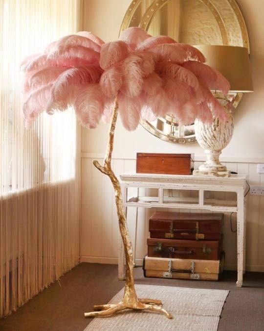 Pink Feather Palm Tree Lamp Feather Lamp Decor Decor Design