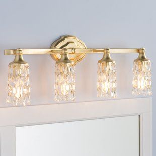 Gold Bathroom Vanity Lighting You Ll Love Wayfair Crystal Bathroom Lighting Vanity Lighting Modern Bathroom Vanity Lighting