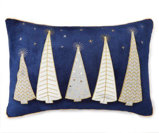 Blue Gold Christmas Tree Throw Pillow Throw Pillows Christmas Gold Christmas Tree Blue Christmas Decor