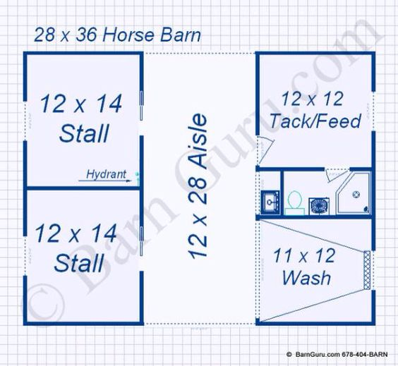 Add 2 more stalls on same side and hay storage opposing for Four stall barn plans
