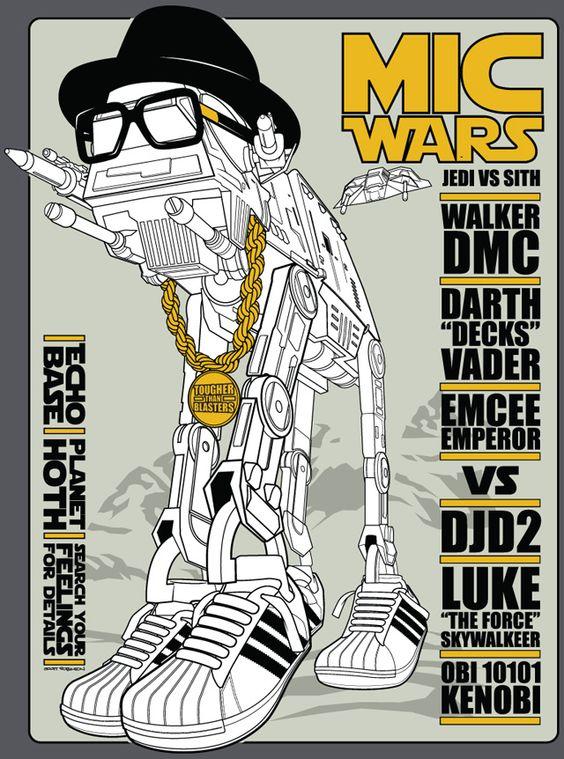 Mic Wars: Geeks Things, Star Wars Love, Rap Wars, Wars Walker, Star Wars Art, Mic Wars, Star Wars Shirt