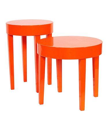 Look at this #zulilyfind! Orange Two-Piece Nesting Table Set #zulilyfinds