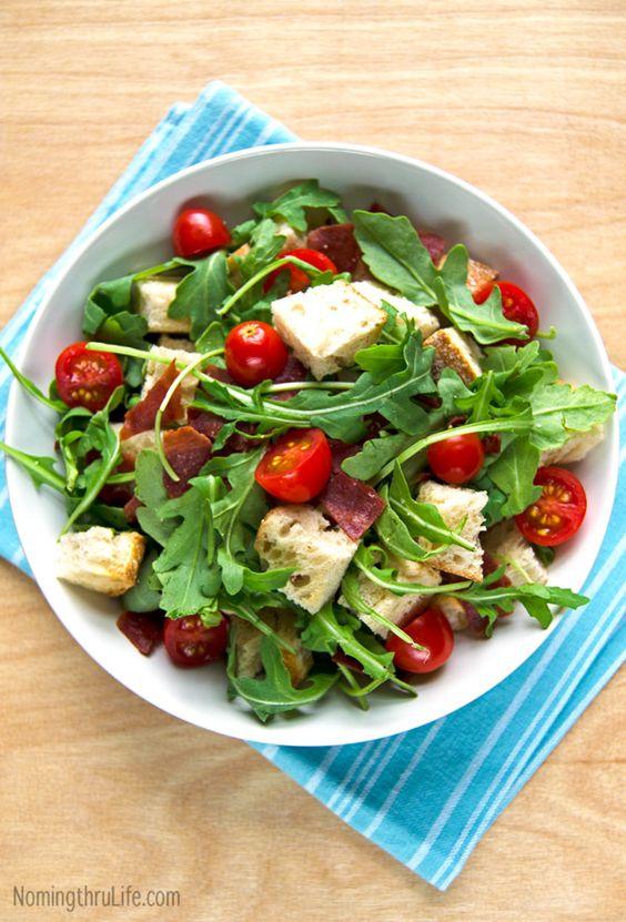 BLT Panzanella - A salad of bread meets a BLT. Holy Yum! Recipe @ NomingthruLife.com