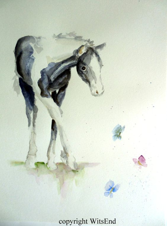 'DANCING WITH THE BUTTERFLIES'.Baby Horse painting original watercolor by 4WitsEnd, via Etsy