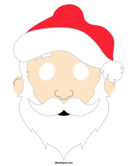 Santa Claus mask templates including a coloring page