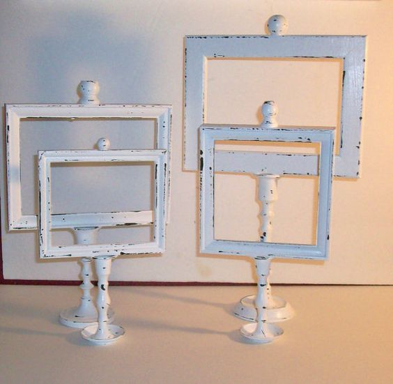4 shabby chic chippy white candle stick picture frames for Shabby chic frames diy