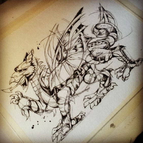 Welsh Dragon Tattoo Design For Kris Ink On Watercolor