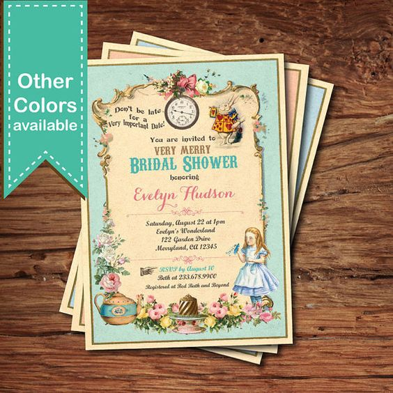 Alice in Wonderland bridal shower invitation. Mad by CrazyLime
