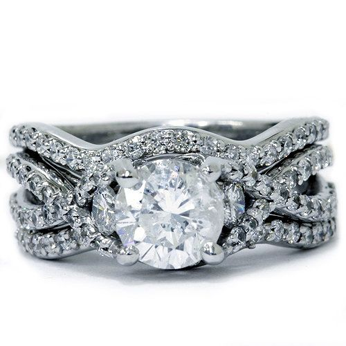 1.70CT Twist Infinity REAL Diamond Engagement Ring by Pompeii3, $1699.00
