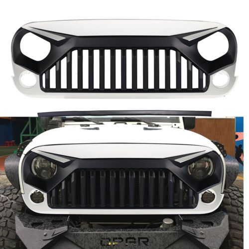 Front W7 White Paint Grille Hood Grill For Jeep Wrangler Jk Rubicon Sahara 11 17 Jeep Wrangler Accessories Jeep Rubicon Accessories Wrangler Accessories