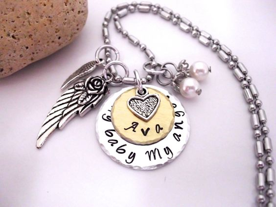 Baby Memorial Jewelry, Baby Memorial Necklace, My Baby My Angel, Baby Bereavement, Loss of Baby, Baby Loss, Miscarriage, Infant Loss by CharmAccents on Etsy