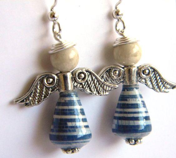 Paper Bead Jewelry - Angel Earrings - #1214 on Etsy, $12.00