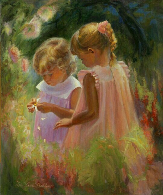 YOUNG GIRL SISTER CARING FOR BABY CHILD PAINTING ART REAL CANVAS GICLEEPRINT
