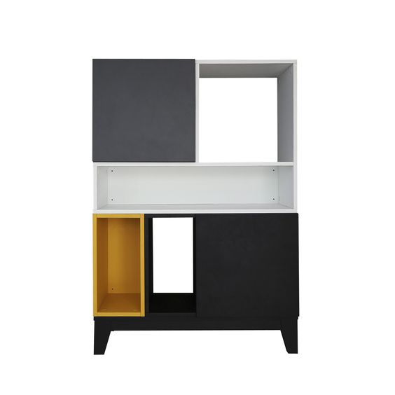buffet modulable blanc gris jaune noir modulo alin a longueur 80 cm hauteur 115 cm. Black Bedroom Furniture Sets. Home Design Ideas