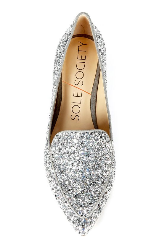 Silver glitter smoking slipper | Sole Society Cammila