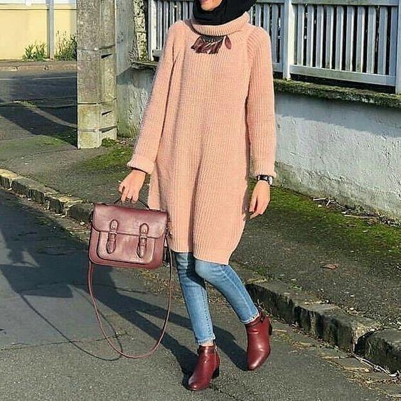 2020 Sik Tesettur Kombinleri Mavi Kot Pantolon Kahverengi Uzun Bogazli Tunik Bordo Topuklu Bot Musluman Modasi Islami Moda Hijab Chic