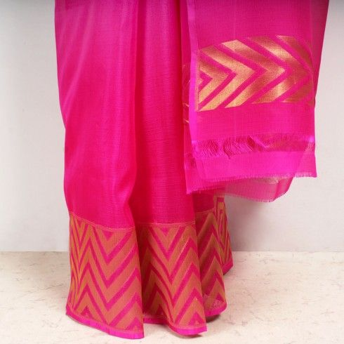 Pink Kota Silk Saree with Zari Border