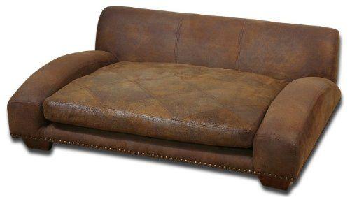 Luxe Designer Brown Leather Large Dog Pet Sofa Bed