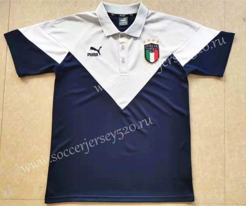 2020 2021 Italy Blue White Thailand Polo Shirt Sj Polo Shirt Football Sweater Blue And White