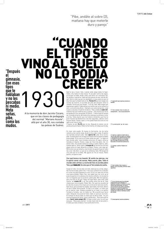 Tipografía 2, cátedra Longinotti: trabajo editorial, página de apertura.